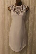 Karen Millen Crochet Tribal Lace Cutwork White Party Shift Dress 8 36