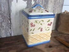 Cookie Jar With Rubber Seal Lid , Hand Painted StoneLite Clay , Decorative