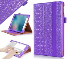 Apple iPad Pro 9.7 Protective Case Premium PU Leather Laser Flower Purple