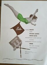 1949 women's vintage green swimsuit bathing suit MABS fashion diving ad