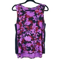 J JILL Wearever Collection Purple Floral Sleeveless Tank Top, Size Petite Medium
