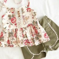 USA Summer Kids Baby Girls Floral Tops Shorts Pants Tassel Outfits Clothes 1-6Y