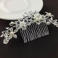 Crystal Rhinestone Wedding Flower Pearls Hair Clip Hair Comb Women Bride nice