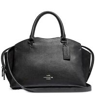 NWT COACH MIXED LEATHER DREW SATCHEL BLACK/SILVER IN ORIGINAL PACKAGING