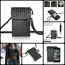 Black Woven Leather Cell Phone Crossbody Bag Small Purse Pouch For iPhone 7 Plus