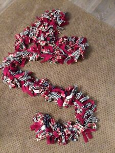 Christmas Red w/Black & White Check and Multi Color Rag Garland 9 Feet