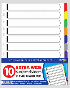 A4 10 Part Extra Wide Dividers Index Tab Contents Cover Punch Pocket File 301899