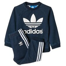 ADIDAS ORIGINALS Jogger bébé jeans jogging pantalon DENIM + sweat bleu 68
