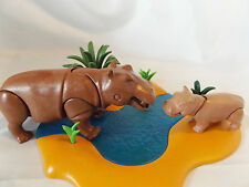 Playmobil Retired Hippo Mom, baby w/ River Landscape, Safari, Zoo, Ark Animals
