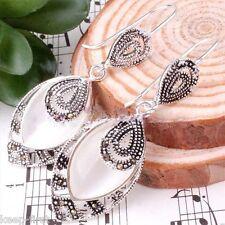 925 Sterling Silver Marcasite Dangle Earrings New Fashion Women's White Opal Gem