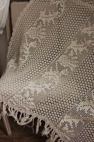 Throw Blanket crochet lace Vintage French Filet handmade w/ fringe 52X77in 1920