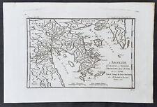 1785 Du Bocage & Barthelemy Antique Map of Argolid Peninsula Peloponnese, Greece
