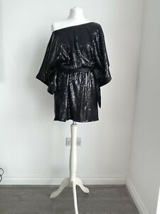 ZARA EVENING BLACK SEQUIN SEQUINNED OFF SHOULDER DRESS MEDIUM M UK 12 US 8 EU 40