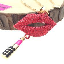 Jewelry Charm Betsey Johnson Pendant Rhinestone Lips lipstick Women Necklace hot