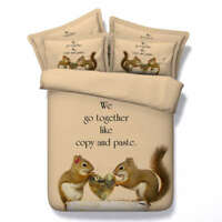 Squirrel Grabing 3D Printing Duvet Quilt Doona Covers Pillow Case Bedding Sets