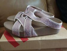 Fitflop Women Slinky Rokkit Criss-Cross Slide Open-Toe Sandals Pink (Nude) 4
