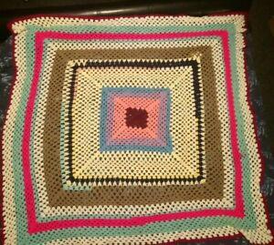 """vintage hand crochet Afghan granny knit blanket 54"""" x 54"""""""