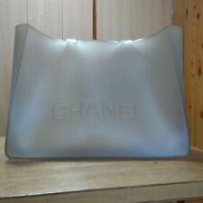 Auth CHANEL Large rubber handbag gray