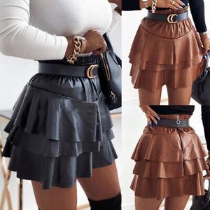 Womens PU Ruffle Dress Skirts Ladies Wet Look Faux Leather Bodycon Mini Skirt