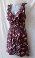 Review Size 8 Mini Dress Ruffled Front Brown Floral Evening Smart Casual Party