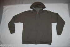 Mens DARK ARMY GREEN HOODED SWEAT JACKET Zip Up Hoodie 2 POCKETS Size L 42-44