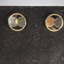 "14k earrings yellow gold black onyx round .75"" diameter J165"