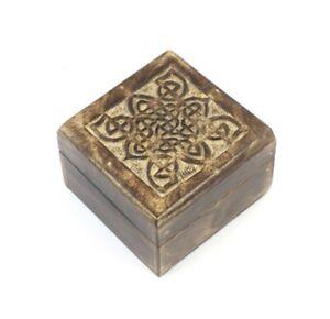 Trinket Jewellery Box Mango Wood Square Celtic Handmade Fair Trade Indian Carved