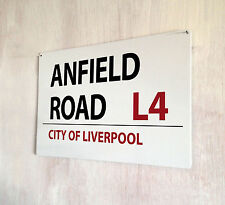 Anfield Road Liverpool Football street sign A4 metal plaque decor
