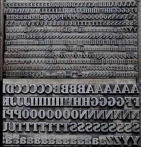Bleischrift 11 mm Bleisatz Buchdruck Alphabet Handsatz ABC Blei Druckerei Druck