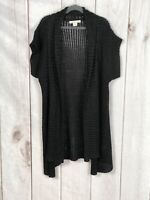 Coldwater Creek Womens Black Crochet Short Sleeve Open Cardigan Sweater Size XS