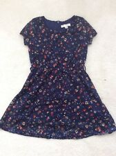 Girls Blue Lace Floral Short Sleeve  Dress Age 5-6 Years From Yumi