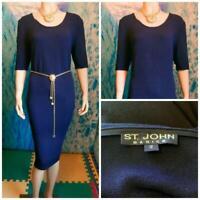 St. John Basics Santana Knit Navy Blue Dress L 12 14 Short Sleeved Sheath