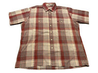 Vintage Christian Dior Men's Pink Red Gray Plaid Button Down Shirt Size L