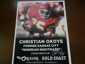 KANSAS CITY CHIEFS CHRISTIAN OKOYE SIGNED 8 1/2 x 11 PHOTO