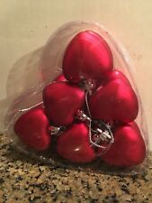 """Valentine's Day Set of 8 Red Matte Heart Ornaments 2.5"""" New"""
