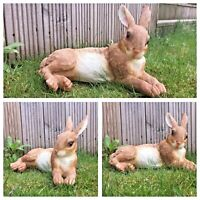 REAL LIFE Laying down rabbit for home or garden ornament - big Rabbit - H7H