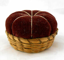 Antique Victorian Sewing Sweet Grass Basket PIN CUSHION Sweetgrass & Velvet
