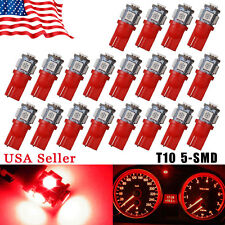 20PCS Super Red T10 Wedge 5-SMD 5050 LED Light bulbs W5W 2825 158 192 168 194