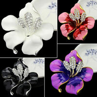 Bridal Wedding Jewelry Rhinestone Lily Flower Scarf Brooch Pin Lady Party Perfec