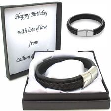 Mens Black Leather ID Bracelet Engraved Clasp Personalised Box Christmas Gifts