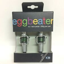 Crank Brothers Eggbeater 1 Pedals - Silver/Green - XC Race Pedal 280g/Pair - New