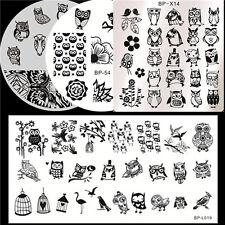 4Pcs/set Nail Art Manicure Stamp Image Plates Template BORN PRETTY Owl Pattern