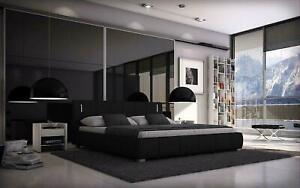Bett 140x200 Doppelbett LED Designerbett Polsterbett Kunstleder schwarz