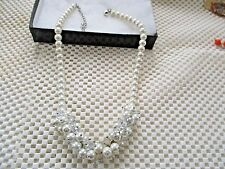 Glass Beaded Necklace Glass Pearl Faceted Clear