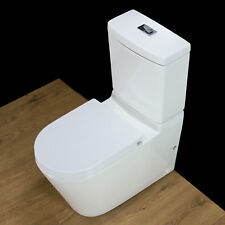 Toilet WC Close Coupled Cloakroom Square Style Round Pan Soft Closing Seat T25