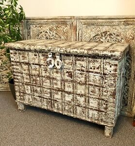 Antique Indian Storage Trunk, Dowry Chest, Damichiya, Console Table, Sideboard