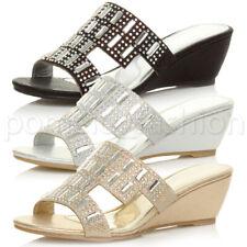 Mujer Tacón Cuña Boda nupcial Baile de graduación Mid Diamante Mulas Sandalias Zapatos Talla