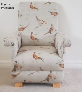 Fryetts Pheasants Fabric Child's Chair Kids Armchair Birds Beige Nursery Bedroom