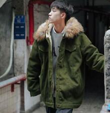Men Fur Collar Thicken Padded Jacket Winter Puffer Coat Warmer Oversize Parka sz