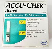 Accu-Chek Active 100 Test Strips, 2*50 Strips Glucose Strips Oct 2020 Expiry New